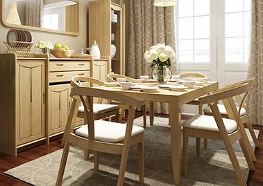 意大利楠木饭桌套椅